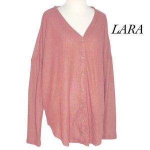 Lara Fashion Mauve Henley Top Long Sleeve Size 1X